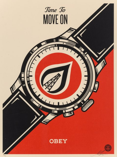 Shepard Fairey, 'Time To Move On', 2015, Print, Screenprint in colors on speckled cream paper, Heritage Auctions