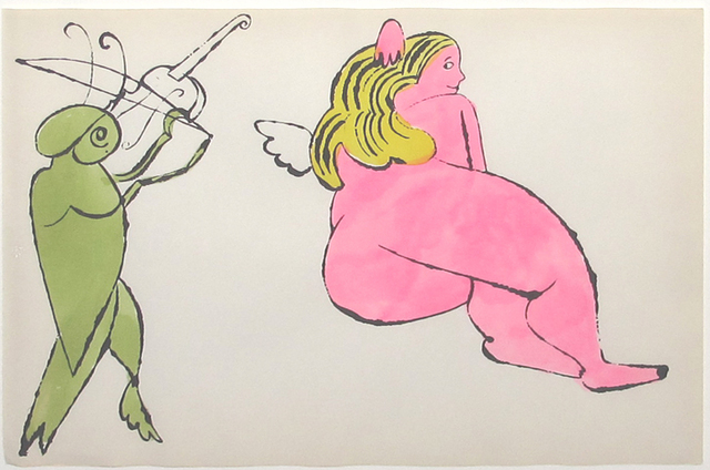 Andy Warhol, ' In The Bottom of my Garden (103A)', ca. 1956, Print, Lithograph with watercolor, Hamilton-Selway Fine Art