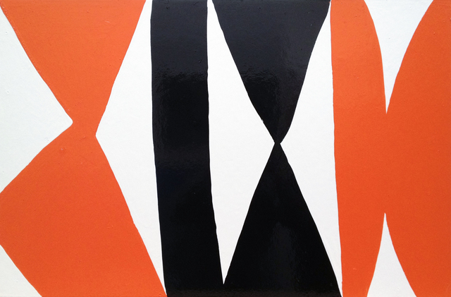 , 'Enamel Panel #3. (white, orange, black),' 2004, Rosamund Felsen Gallery