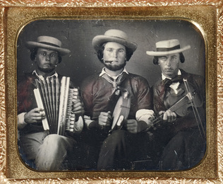 Two sixth-plate daguerreotypes of musicians