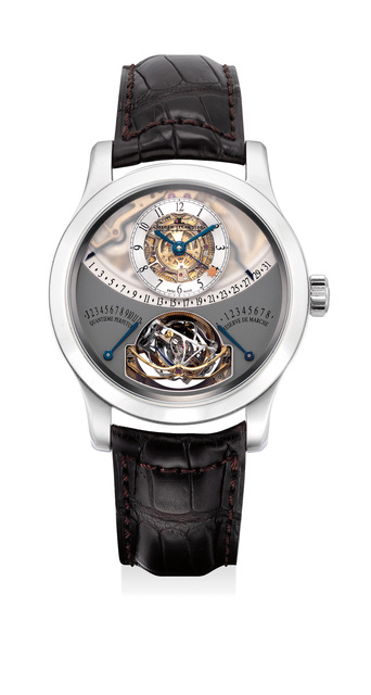 Jaeger LeCoultre, 'An extremely rare and highly complicated platinum perpetual calendar wristwatch with equation of time, power reserve indication, gyrotourbillon regulator, warranty and box, numbered 64 of a limited edition of 75 pieces', Circa 2010, Phillips