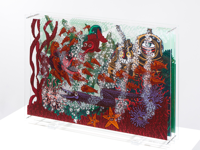 ", 'original silksreen on plexiglass ""Aquarium"",' 2016, Galerie Estampe"