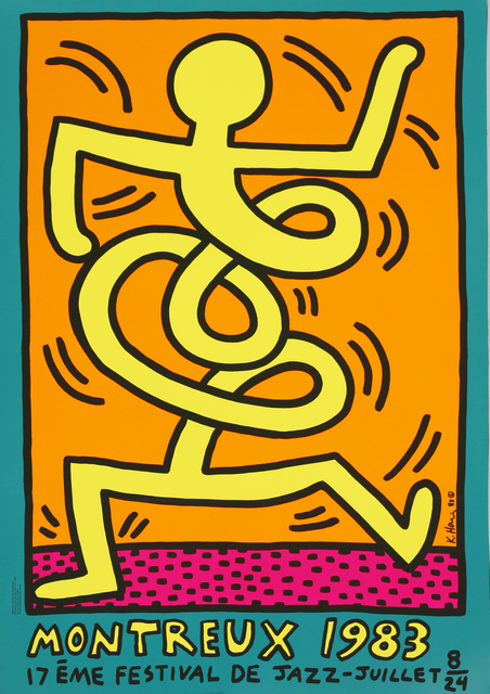 Keith Haring, 'Montreux Jazz Festival Poster, Pink, Yellow And Green', 1983, Sworders