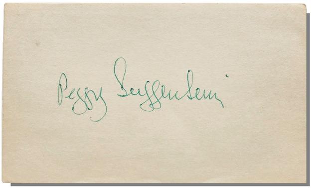 Max Ernst, 'PEGGY GUGGENHEIM, 1970's, Signed, 3x5 in. Index Card, PSA/DNA Certified.', 1970's, VINCE fine arts/ephemera
