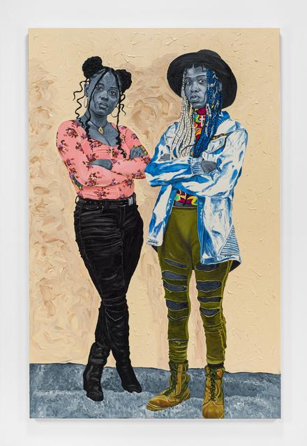 Otis Kwame Kye Quaicoe, 'Raiyasha & Rainyanni', 2021, Painting, Oil and fabric appliqué on canvas, Roberts Projects