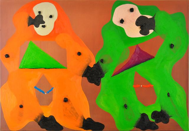 , 'Zwei-Wezen-Begegnung (HALLA! - SPIIELO!/erscheinend? - grenzend?/1€) - 3¥),' 2013, Niklas Schechinger Fine Art.