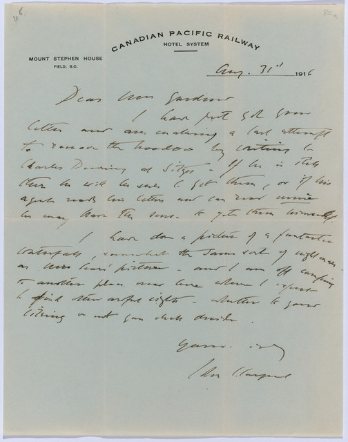 , ' Letter to Isabella Stewart Gardner from Mount Stephen House, Field,,' August 31-1916, Isabella Stewart Gardner Museum