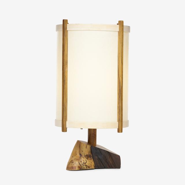 George Nakashima, 'table lamp', 1984, Design/Decorative Art, American black walnut, holly, parchment, Rago/Wright
