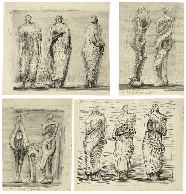 Henry Moore, 'Standing Figures', 1949, Print, Four collotypes printed in black and grey on four sheets of wove paper, Christie's
