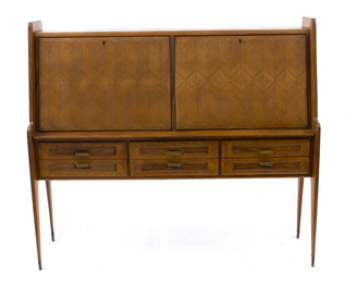 Cabinet with double flap and six front drawers ; stylized line legs