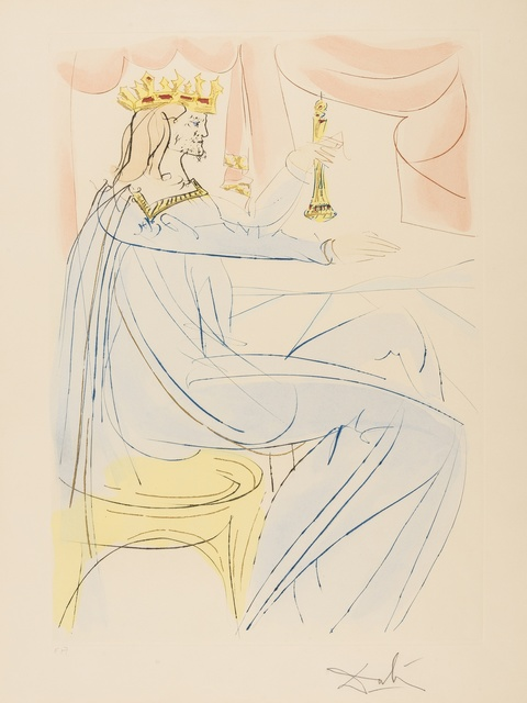 Salvador Dalí, 'King Solomon (from Our Historical Heritage) (M & L 756; Field 75-4-A)', 1975, Print, Etching with pochoir printed in colours, Forum Auctions