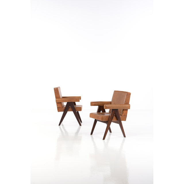 Pierre Jeanneret, 'Board Committee Chair; Pair of Armchairs', circa 1959, PIASA