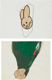 Two Works: (i) Untitled Collage (bunny head) (ii) Untitled Collage (boy with trowel)