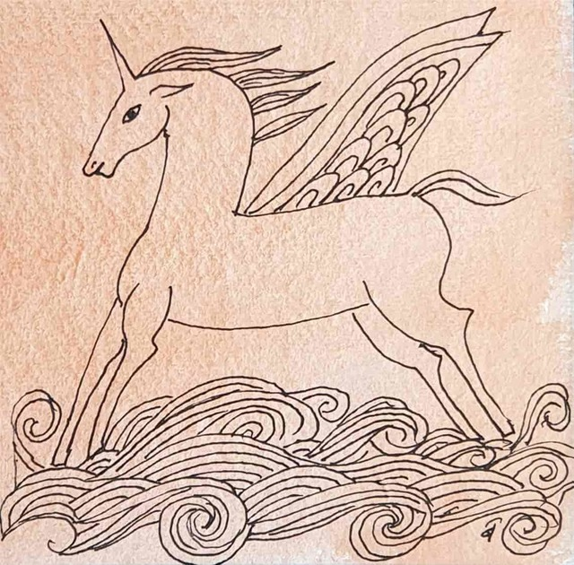 ", 'The Winged Unicorn, Drawing, Pen & Watercolour on Paper by Padmashree Modern Artist ""In Stock"",' 2008, Gallery Kolkata"