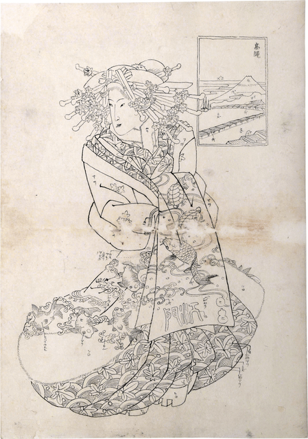 Teisai Sencho, 'Preparatory Drawing for print of Flourishing Scenes of the East: Takanawa, Emon of the Maru-Ebiya', 1830's, Drawing, Collage or other Work on Paper, Sumi ink on paper, Scholten Japanese Art