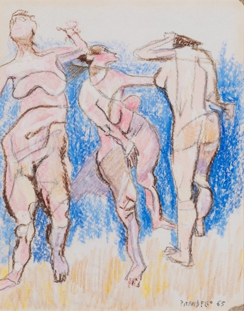 Fausto Pirandello, 'Bathers', 1965, Drawing, Collage or other Work on Paper, Coloured pastels on paper, Finarte