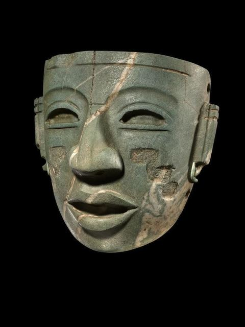 , 'Teotihuacan Mask with carved stepped pyramid motif,' 250-450 CE, Throckmorton Fine Art
