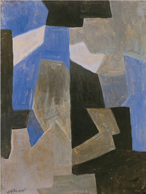 Serge Poliakoff, ' Composition abstraite', 1957, Painting, Tempera on canvassed paper, Lorenzelli arte