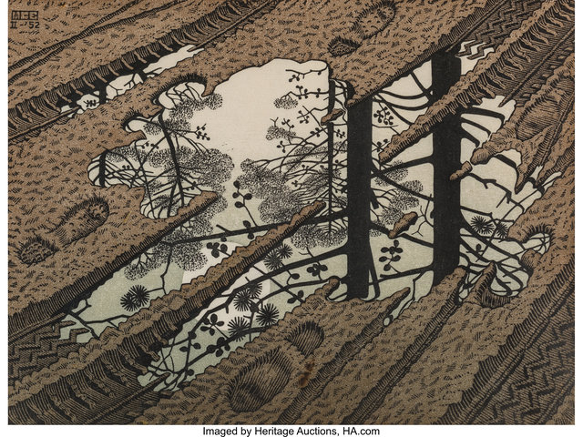 Maurits Cornelis Escher, 'Puddle', 1952, Print, Woodcut in colors on thin laid Japon paper, Heritage Auctions