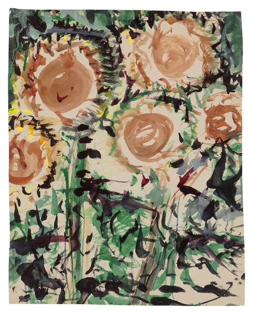 Fritz Ascher, 'Sunflowers', undated, Drawing, Collage or other Work on Paper, Grey gouache and black ink over  watercolor on paper, New York Studio School