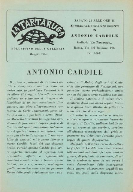 Antonio Cardile, 'Bollettino', Finarte