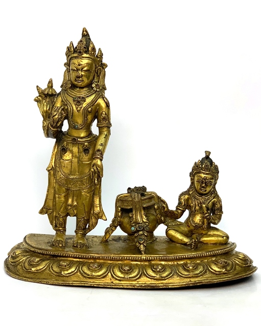 , 'A Gilt bronze figures of Padmapani and Jambhala, Tibet, 15th century, 23,5 cm.,' , Arman Antiques Gallery