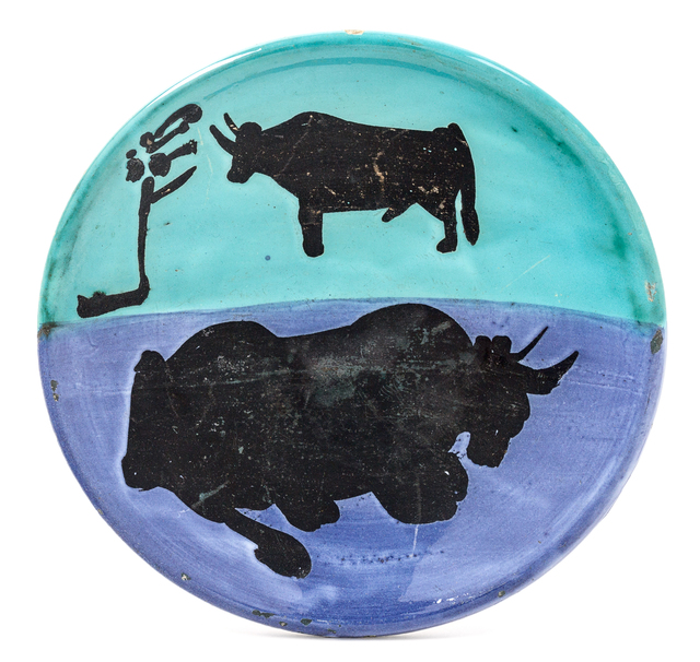 Pablo Picasso, 'Toros', 1952, Design/Decorative Art, White earthenware ceramic plate with black oxide, colored engobe and glaze, Hindman