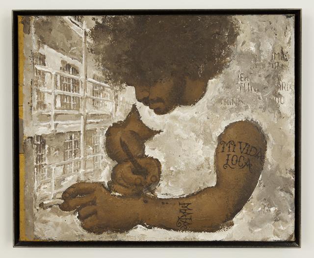 , 'Portrait of Mickey Pinero Tattooing,' 1988, P.P.O.W