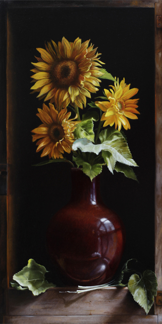 , 'Sunflowers in Red Vase,' 2018, William Baczek Fine Arts