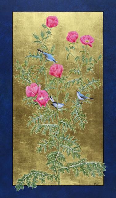 Margie Crisp, 'Rose Prickly Poppy and Blue-Grey Gnatcatchers', 2018, William Reaves | Sarah Foltz Fine Art