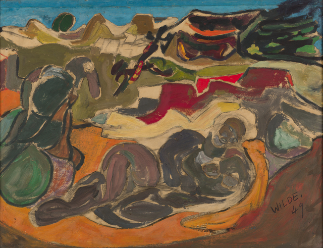 Gerald Wilde, 'Rocky Landscape with Old Man and Bird', 1949, Painting, Gouache on paper, October Gallery
