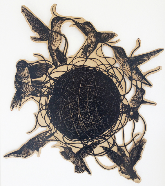 , 'HUMMINGBIRDS,' , saltfineart