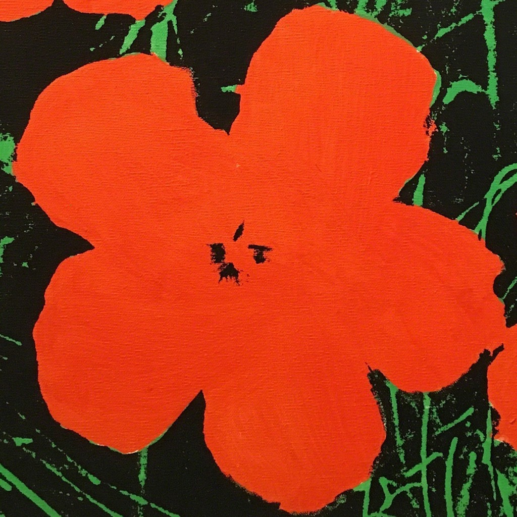 Detail Sturtevant Warhol Flowers, 1965, synthetic polymer paint & silkscreen ink on canvas.