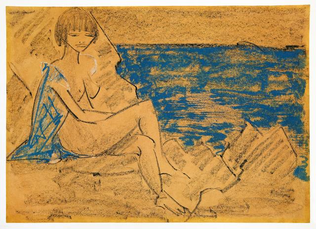 , 'Sitzender Frauenakt an einem Gewässer / Sitzender Akt,' ca. 1927, Ludorff