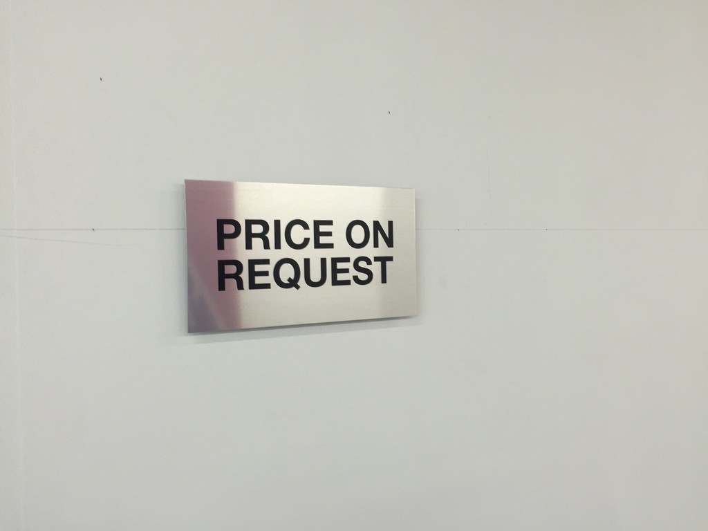 Christian Robert-Tissot, Price on Request, 2017, screenprint on aluminium
