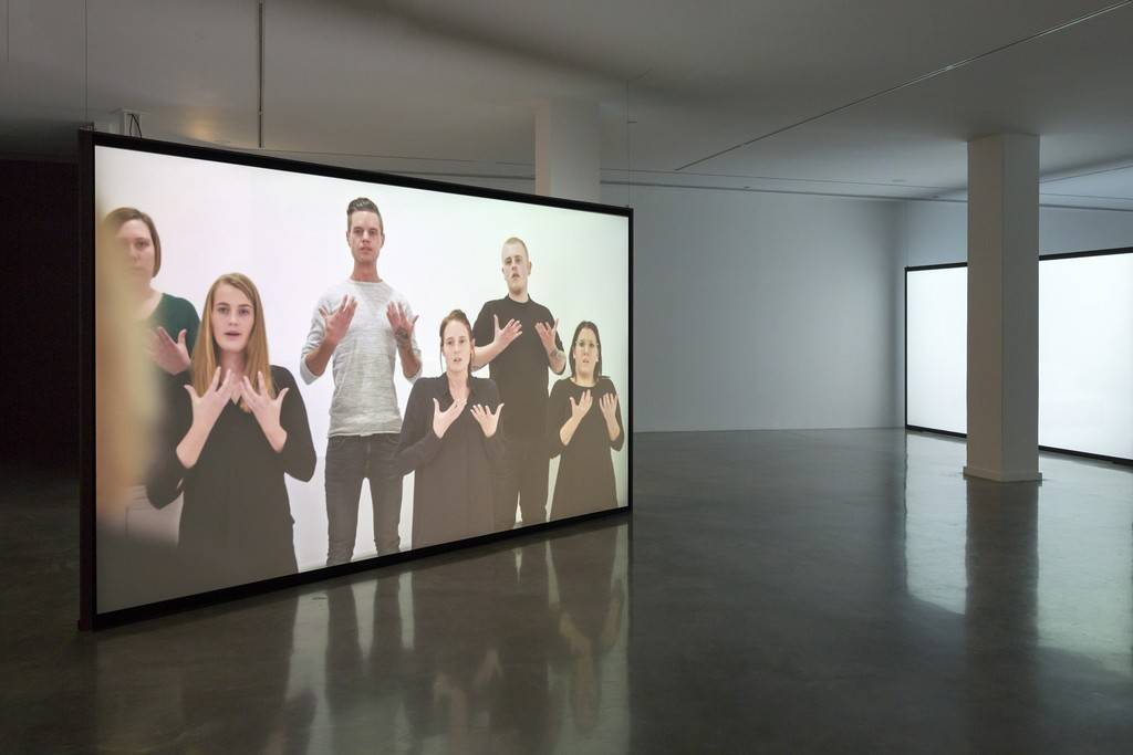 Angelica Mesiti, The Colour of Saying (still, detail), 2015, installation view, Telling Tales: Excursions in Narrative Form, Museum of Contemporary Art Australia, 2016, 3-channel high definition digital video, colour, sound, duration: 25 minutes, The performance was originated in collaboration with and produced by Lilith Performance Studio, Malmö, Sweden 2015, image courtesy the artist and Museum of Contemporary Art Australia © the artist, photograph: Jessica Maurer