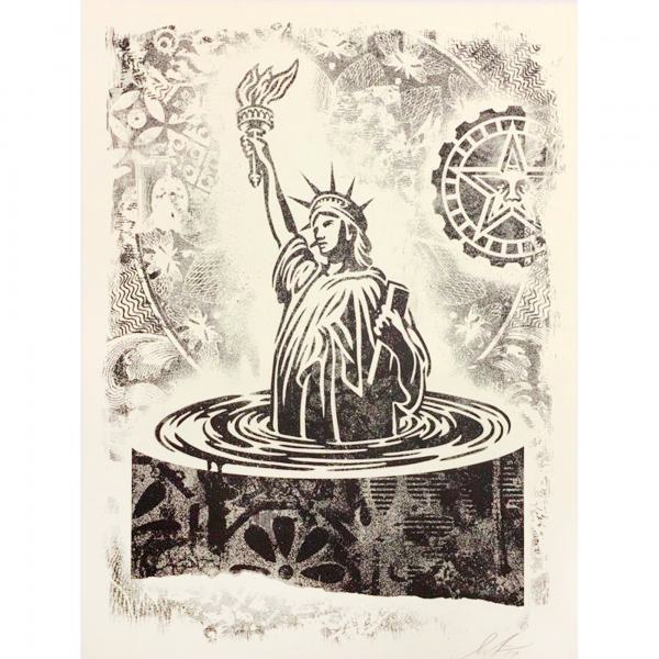 Shepard Fairey, 'Damaged Sinking Liberty', 2019, AYNAC Gallery