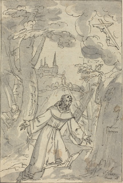 Johann Matthias Kager, 'The Stigmatization of Saint Francis', 1607, Drawing, Collage or other Work on Paper, Pen and black ink with gray wash on laid paper, National Gallery of Art, Washington, D.C.