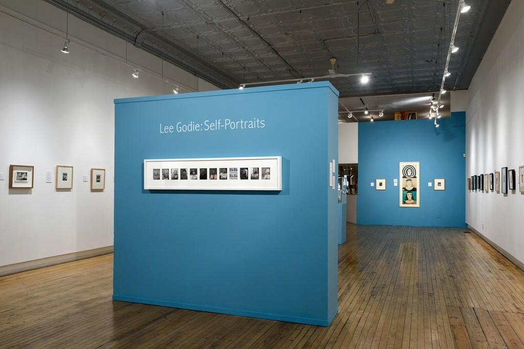 "Installation view of ""Lee Godie: Self-Portraits"" at Intuit, Chicago (2016). Photo credit: Cheri Eisenberg"