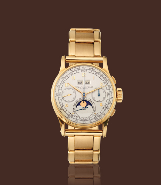 , '18K yellow gold, ref. 1518 moon-phases calendar chronograph with bracelet,' , Davide Parmegiani Fine Watches