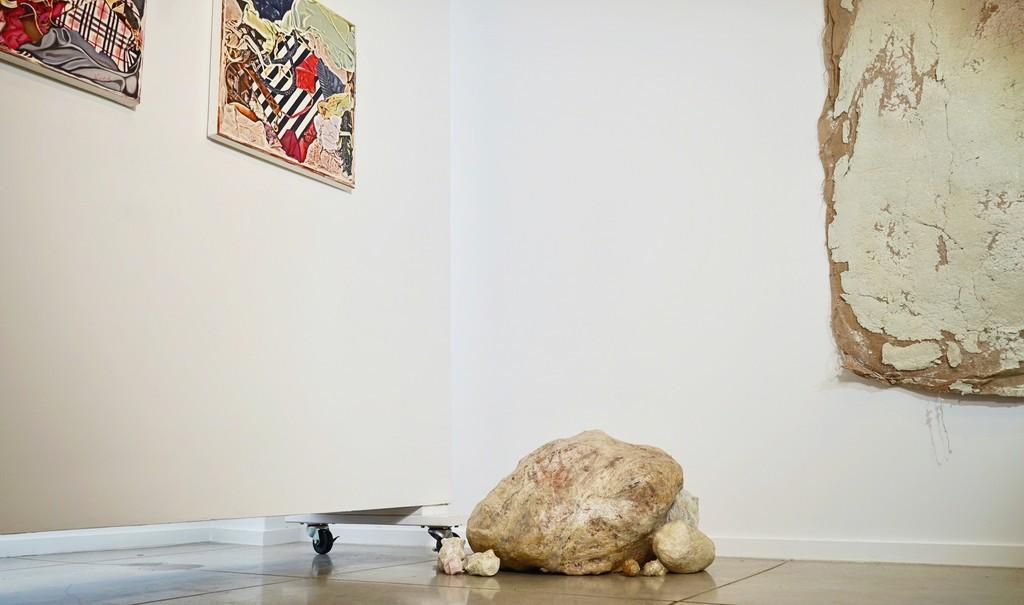 """Bottom center: Erika Ostrander, """"Hold My Bones"""" (sculpture), 2016-present, studio trash, sausage casing and salt, dimensions variable"""