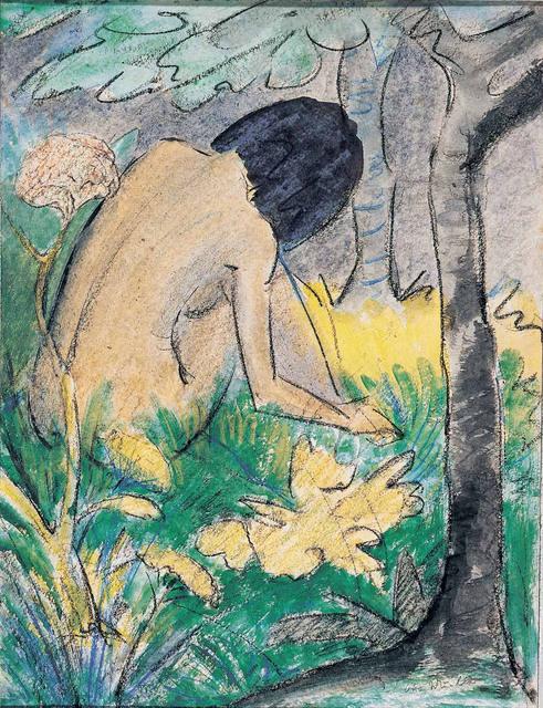, 'Kauerndes Mädchen im Walde,,' 1920-1922, Artvera's Art Gallery