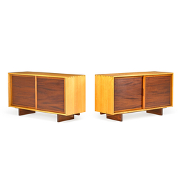 Rare pair of two-tone Sliding Door cabinets, New Hope, PA