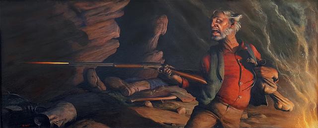 Robert Riggs, 'Prospector firing Rifle  ( Happiness is a Warm Gun ) ', ca. 1940, Robert Funk Fine Art