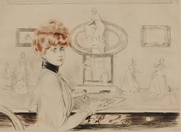 Madame Helleu écrivant à sa table - les tanagras