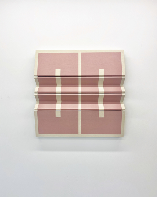 Robert William Moreland, 'Two Mauve Rectangles', 2020, Sculpture, Dropcloth on wooden panel with acrylic paint, tacks and leather hinges, The Hole