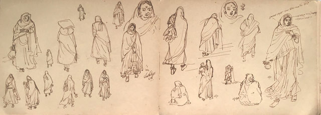 , 'Drawing of rural women, ink on paper by Bengal Master Artist Indra Dugar,' 1964, Gallery Kolkata