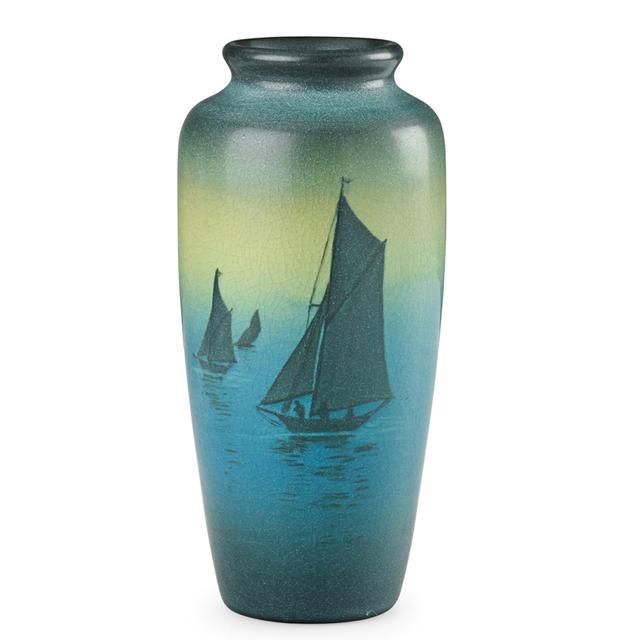 Sallie Coyne, 'Rookwood, Green Vellum Vase With Sailboats, Cincinnati, OH', 1908, Rago/Wright