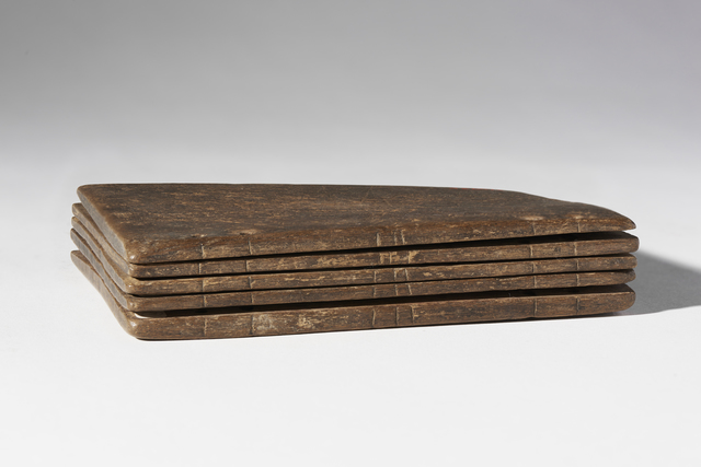 , ' Codex composed of five waxed tablets containing writing exercises,' 4th century AD, Bard Graduate Center Gallery