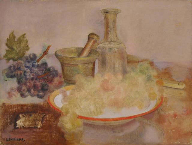 Tamara de Lempicka, 'Still Life with Grapes', 1952, Painting, Oil on panel, Weinstein Gallery